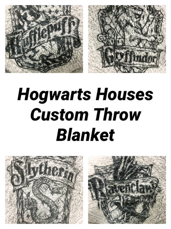 Show your house pride with this fun Hogwarts House blanket featuring your favorite House's logo in the corner.