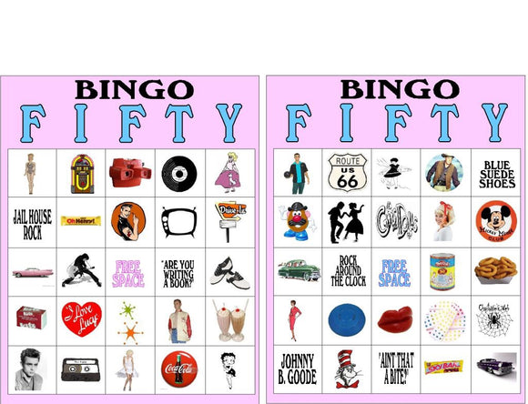 50s Sock Hop Bingo Game Printable