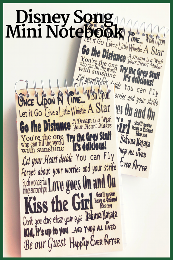 Here are all your favorite lines from Disney songs in one fun notebook  And now you can have it with you all day long with this mini notebook perfect for your backpack or purse.