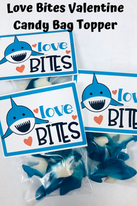 Love Bites Valentines Day Candy Bag Topper