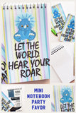 """Let the World hear Your Roar""  What a great motivational quote to keep you doing your best all day long. And now you can have it with you all day long with this mini notebook perfect for your backpack or purse.   Notebook is a great party favor for a dinosaur party or a friend who is trying to improve her life of business"