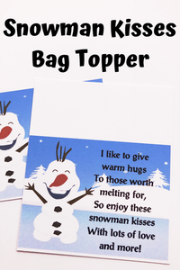 Snowman Kisses Candy Bag Topper