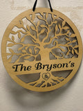 Tree of Life Wood Wall Hanging Personalized