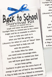 Welcome your students or send your kids back to school with this School survival kit perfect for a back to school party or the first day of class.  This survival kit comes in an instant download printable or with an option for us to print and mail to you. (Just add your own candy for the perfect school treat.)