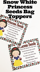 Snow White Princess Seeds Bag Topper Printable