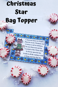Give a sweet reminder of the true meaning of Christmas with this beautiful poem on a Christmas printable bag topper. Simply fill a bag with chocolate stars or starlight mints for a sweet Christmas message for everyone on your list
