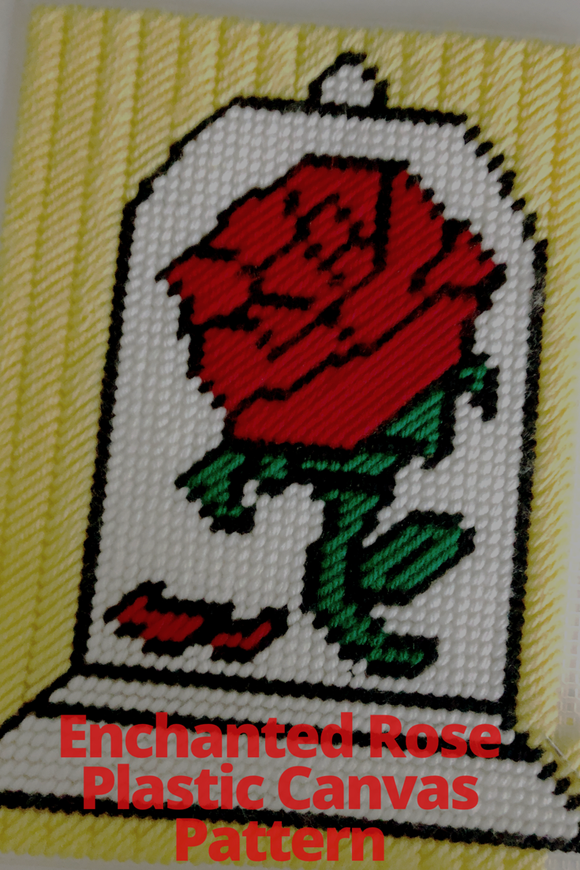Beauty and the Beast Enchanted Rose Plastic Canvas Pattern