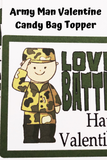 Army Valentines Day Candy Bag Topper