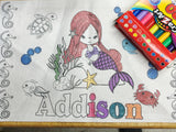 Personalized Mermaid Coloring Page Place Mat