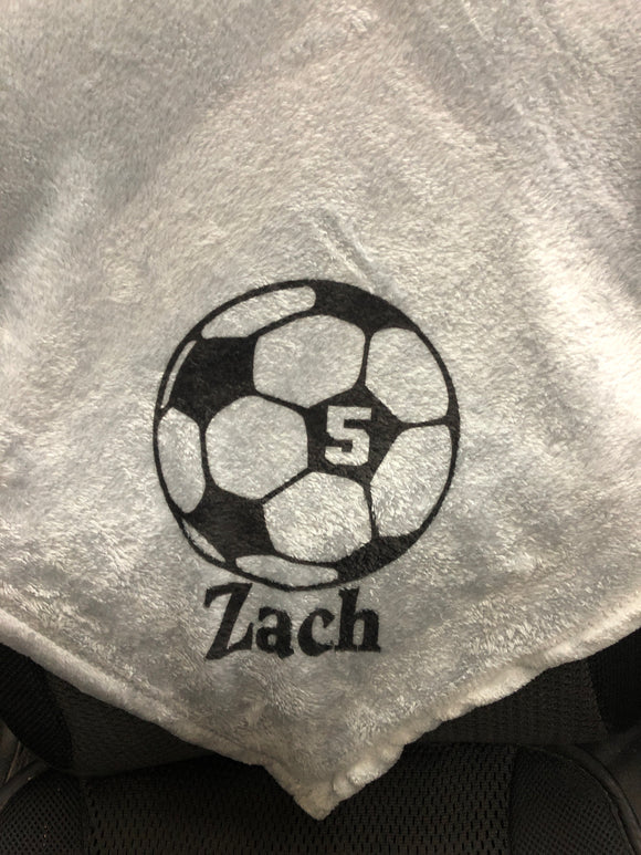 Soccer Ball Personalized Travel Blanket