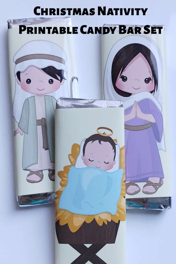 Celebrate Christmas by telling the Christmas story in chocolate or countdown to the big day with this Nativity printable candy bar wrapper set.  Set contains 12 candy bar wrappers. Wrappers have one character from the nativity scene on the front with a scripture reference on the back. #nativity #christmas #candybarwrapper