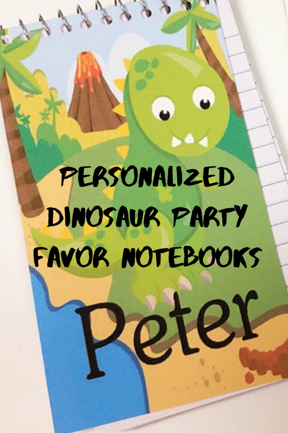 Personalize the fun at your dinosaur party with these fun, personalized mini notebooks. notebooks make great party favors or treats at your party and are the perfect way to say thank you for coming
