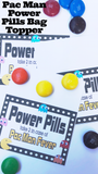 Whether you are having a Video Game party, an 80s themed party, or an Arcade party, these Pac Man power pills are perfect as party favors or party treats at your birthday party.  They are fun, quick, and yummy, so a total win-win for you and your party guests.  Printable reads:  Power Pills  Take 2 in case of Pac Man Fever