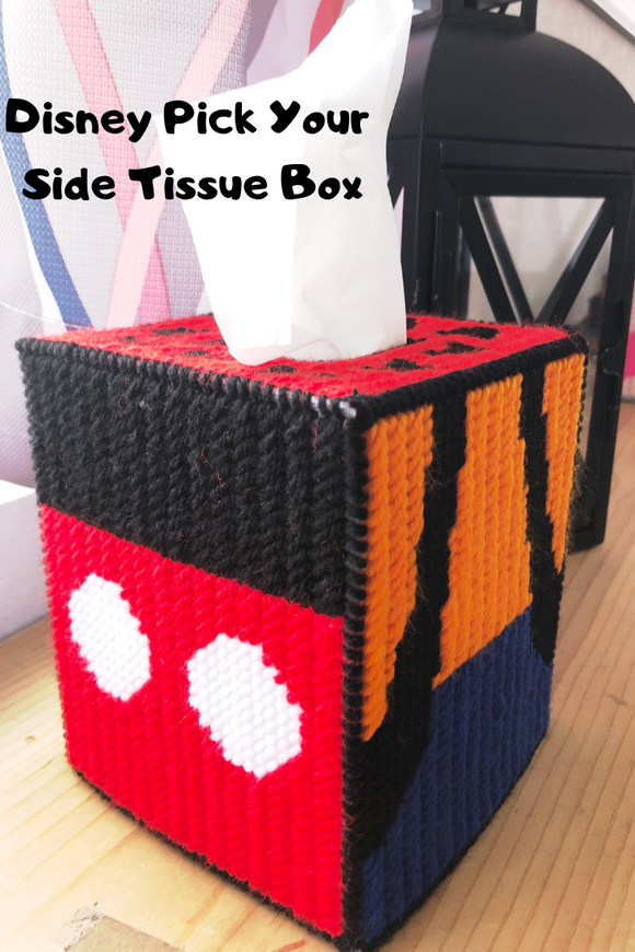 Decorate your Disney Room or Office with this fun Disney Character plastic canvas tissue box in no time at all. Choose to make all Mickey, or just Donald and Goofy, or any of the characters to make your own tissue box.