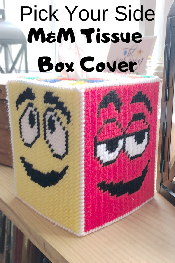 Bring your favorite candy characters into your home or office with this fun plastic canvas tissue box pattern. With this pattern you can pick your own M&M characters for each side of the tissue box pattern.
