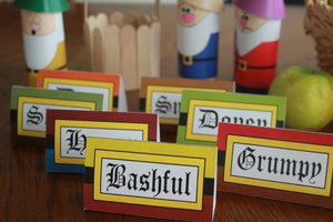 Bring your favorite characters to your Snow White birthday party with these easy to print at home table cards. Use these table cards to place each guest's name at their personal place or as labels for the food on your dessert table.