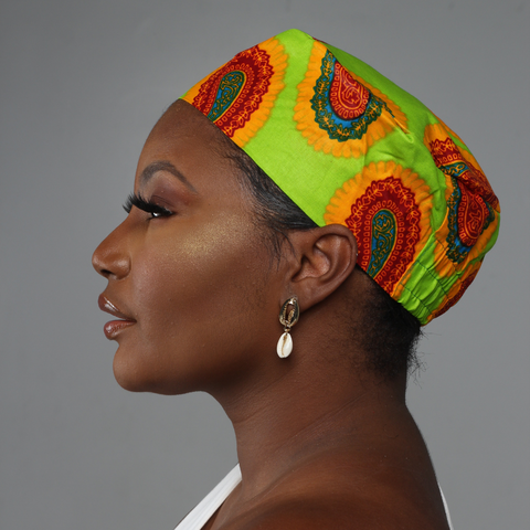Lime Green African Print Kufi Hat