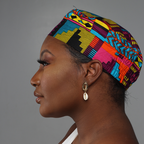 Pink & Blue African Print Kufi Hat