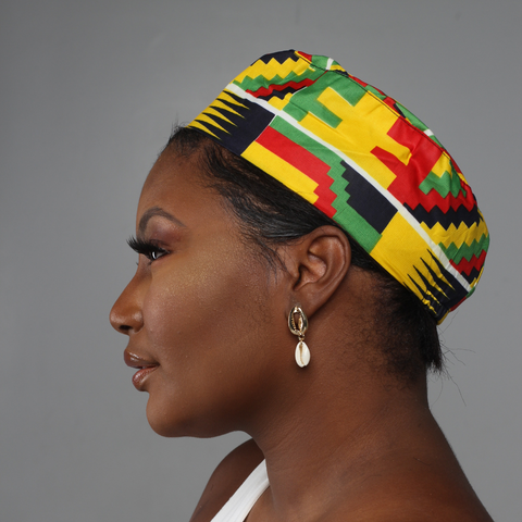 Yellow African Print Kufi Hat