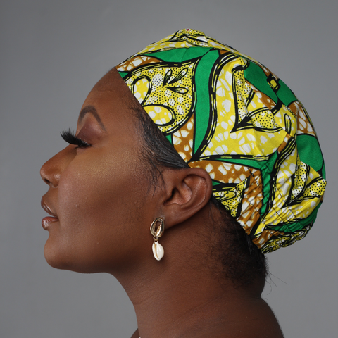 Green and Yellow African Print Kufi Hat