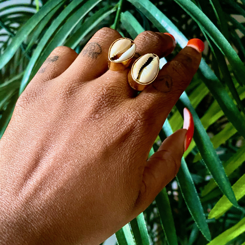 Two Shell Brass Cowrie Ring