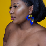 African Cut Out Fabric Earrings - Blue