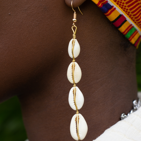 Four Shell Cowrie Shell Earrings