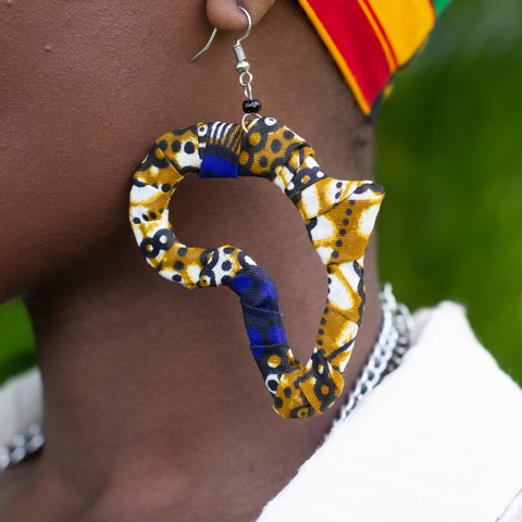 African Cut Out Fabric Earrings - Animal Print