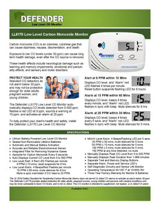LL6710 Defender Low Level Carbon Monoxide Monitor FAQS