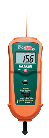 Extech RPM10: Photo/Contact Tachometer with built-in InfraRed Thermometer