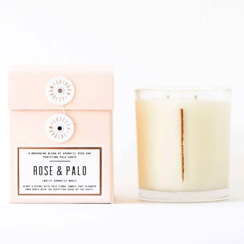 ALL ABOUT PALO SANTO - WOODLOT Candles Amour Collection in Rose + Palo Santo
