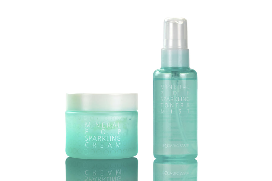 BOTANIC FARM Mineral Pop Sparkling Cream Set with Mini Toner, Skincare Regimen Kit, BOTANIC FARM, Luvi Beauty