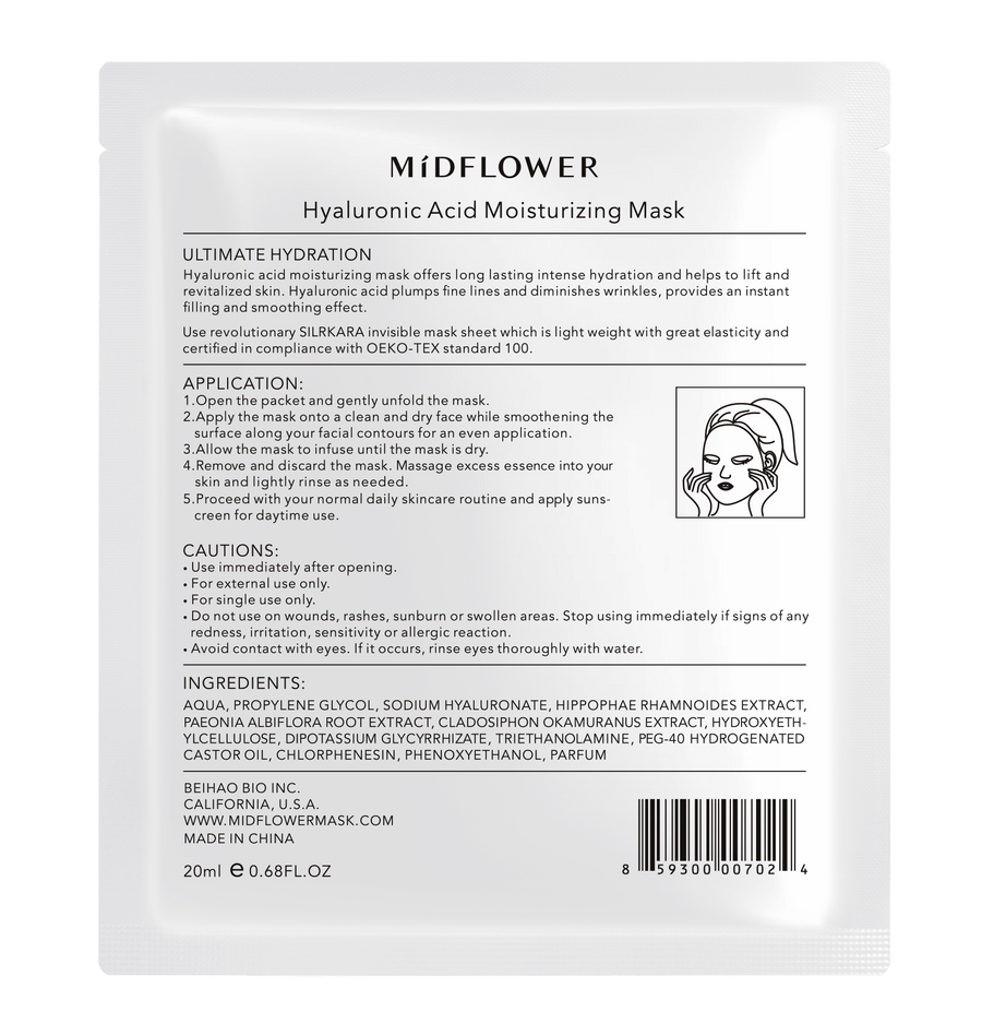 MíDFLOWER Hyaluronic Acid Moisturizing Sheet Mask (4pc Pack), Face Mask, MIDFLOWER, Luvi Beauty