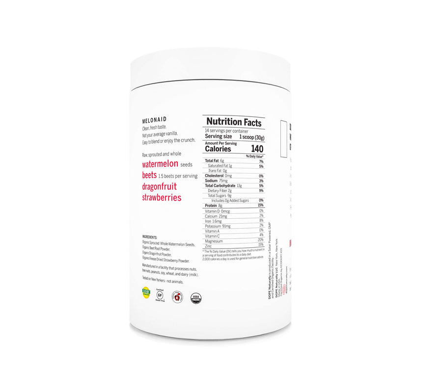 DOPE NATURALLY Melonaid Plant-Based Protein Powder-Ingestible-Luvi Beauty & Wellness