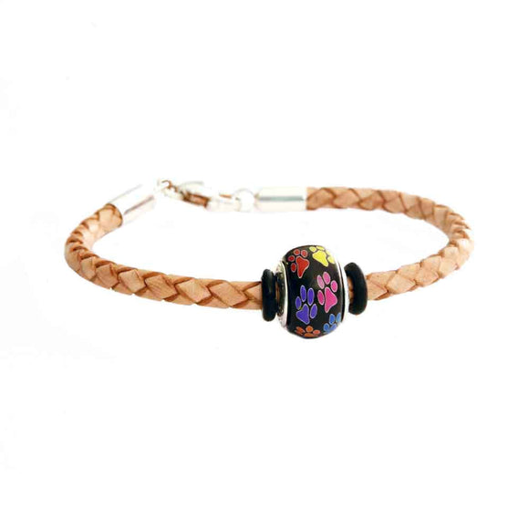 Leather Bracelet - Tan Braided