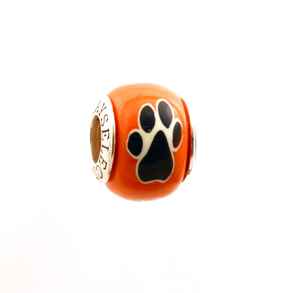 Paw Prints - Black on Orange