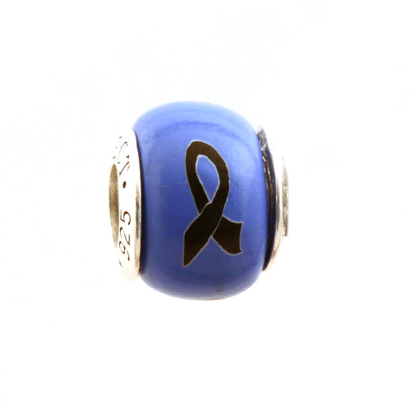 Melanoma (and more) Black Ribbon on Periwinkle Charm