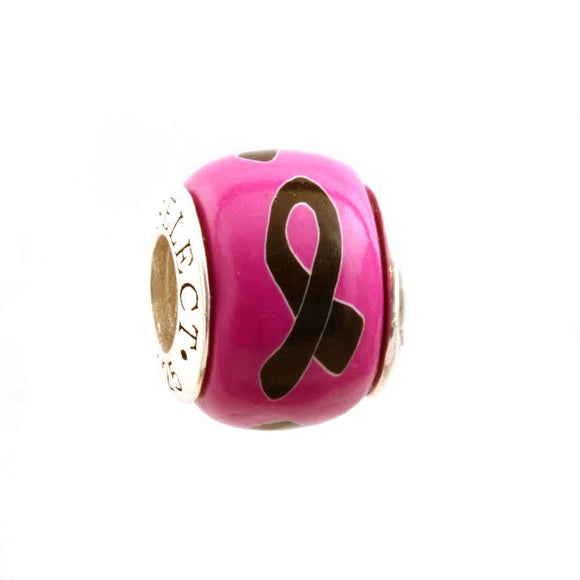 Melanoma (and more) Awareness Black Ribbon on Pink Charm