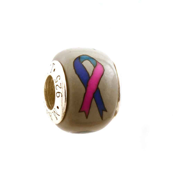 Thyroid Cancer Blue Teal & Pink Ribbon on Grey Charm