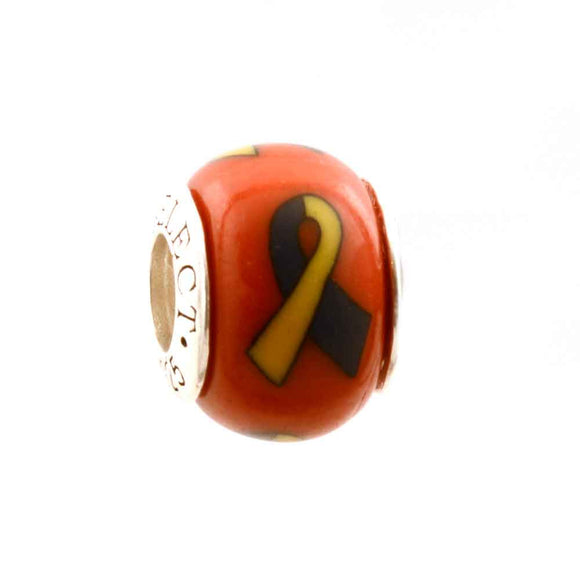 Down Syndrome (and more) Awareness Blue & Yellow Ribbon on Red Charm