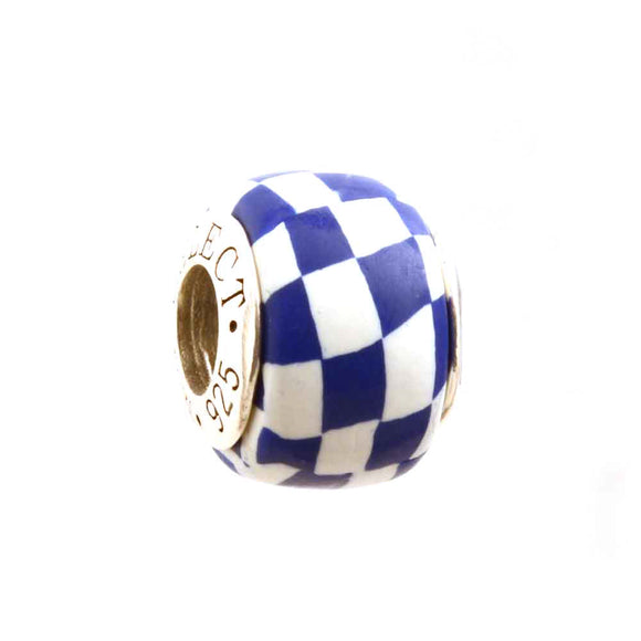 Blue & White Checkerboard Charm
