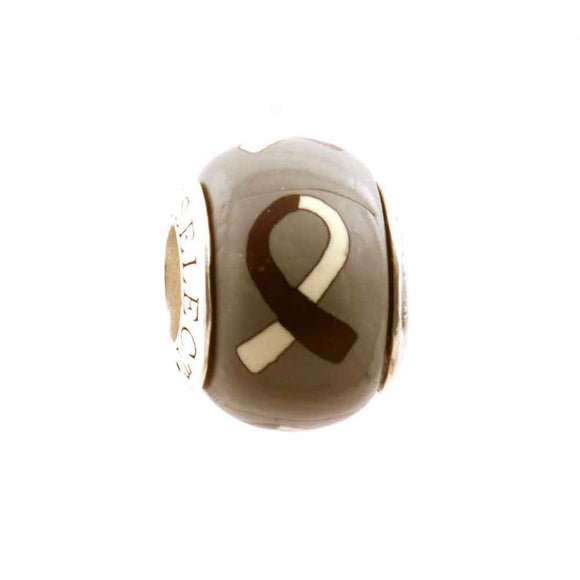 Head and Neck Cancer Burgundy & White Ribbon on Grey Charm