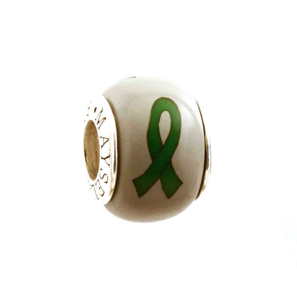 Leukemia/Kidney Green Ribbon on Grey Charm