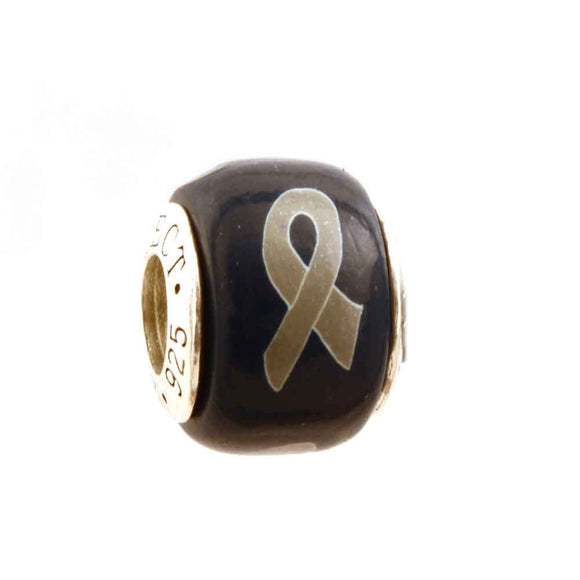 Brain Cancer Grey Ribbon on Navy Charm