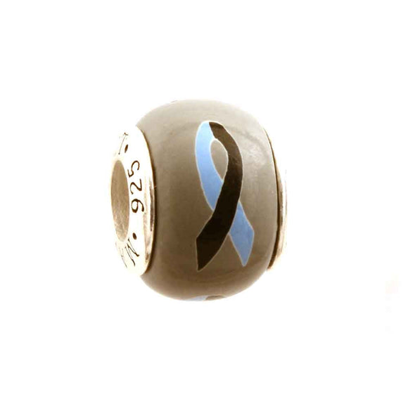 Loss of a Son/Brother Light Blue & Black Ribbon on Grey Charm
