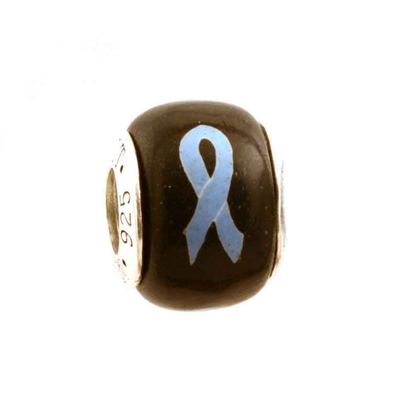 Lymphedema Light Blue Ribbon on Black Charm