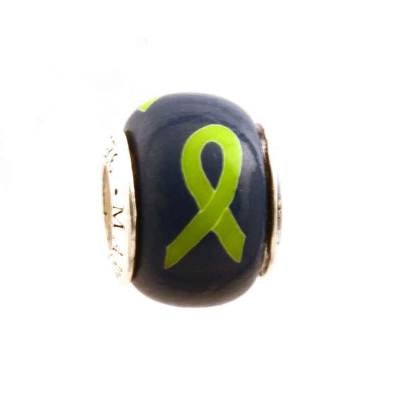 Lymphoma/Lyme Disease Lime Green Ribbon on Navy Charm
