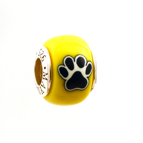 Paw Prints - Navy on Yellow