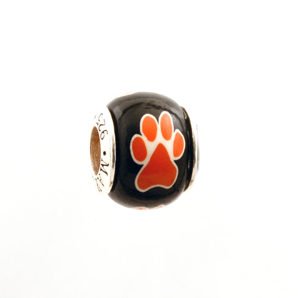 Paw Prints - Orange on Black
