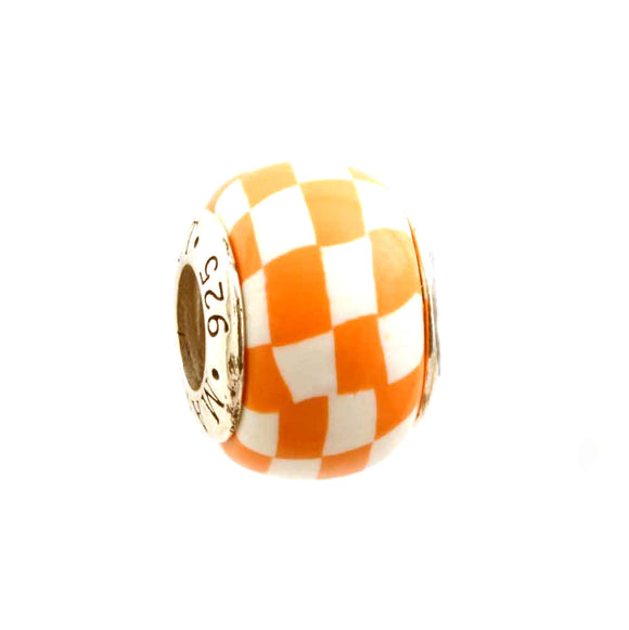 Orange & White Checkerboard Charm